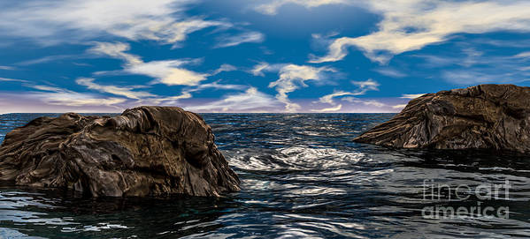 Ocean Poster featuring the photograph Ocean Rock And Sky by Jetmir Sejdiu