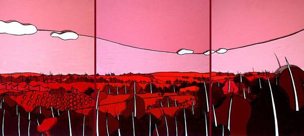 Landscape Poster featuring the painting Red Tuscan Longview by Jason Charles Allen