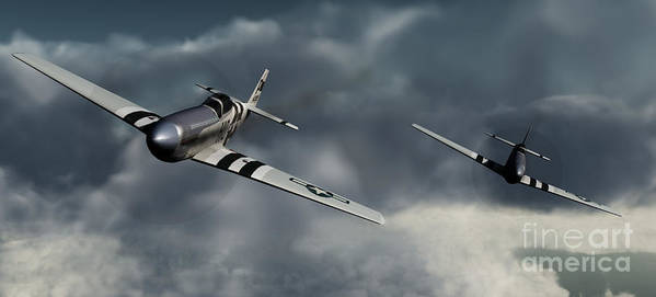 Warbirds Poster featuring the digital art Riding The Storm by Richard Rizzo