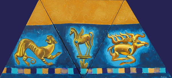 Abstract Poster featuring the painting Scythian Gold 5 by Aliza Souleyeva-Alexander