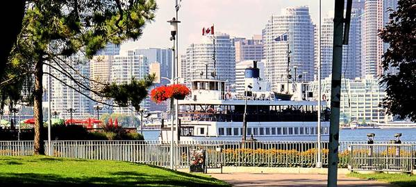 Toronto Poster featuring the photograph Toronto Island Ferry Arrives by Ian MacDonald