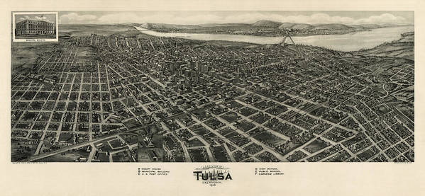 Tulsa Poster featuring the drawing Antique Map Of Tulsa Oklahoma By Fowler And Kelly - 1918 by Blue Monocle