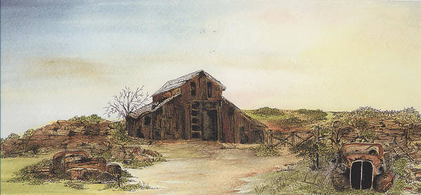 Barn Poster featuring the painting Antique Trilogy Hide And Seek by Meldra Driscoll
