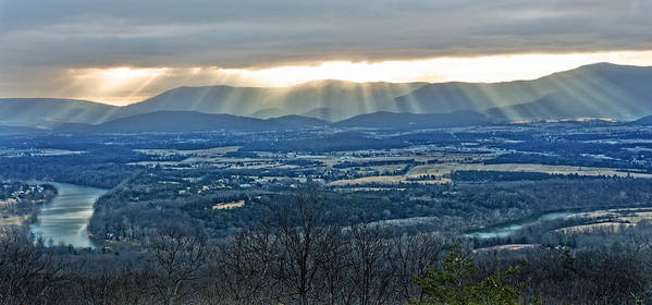 Light Beams Poster featuring the photograph Beaming March Shenandoah by Lara Ellis