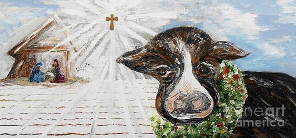 Christ Poster featuring the painting Christmas Cow - Oh To Have Been There... by Eloise Schneider