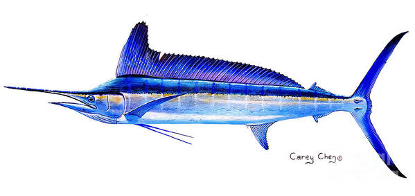 Spearfish Poster featuring the painting Longbill Spearfish by Carey Chen