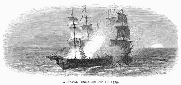 1779 Poster featuring the photograph Naval Battle, 1779 by Granger