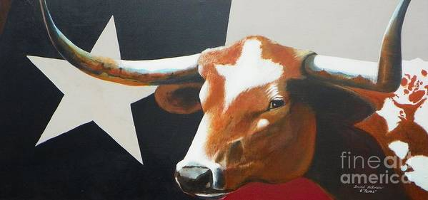 Texas Poster featuring the painting O'texas by David Ackerson