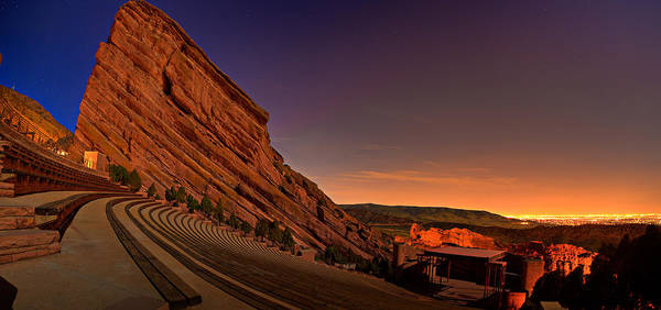Night Poster featuring the photograph Red Rocks Amphitheatre At Night by James O Thompson