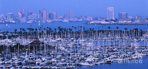 Panoramic Poster featuring the photograph San Diego Twilight by Sandra Bronstein