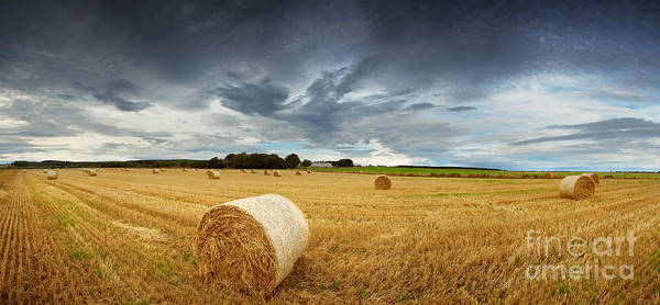Storm Poster featuring the photograph Straw Bales Pano by Jane Rix