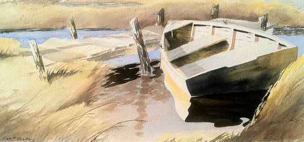 Boat Poster featuring the painting Docs Old Rowboat by Don F Bradford