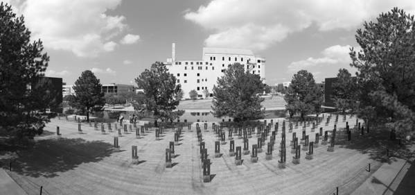 National Poster featuring the photograph Oklahoma City National Memorial Black And White by Ricky Barnard