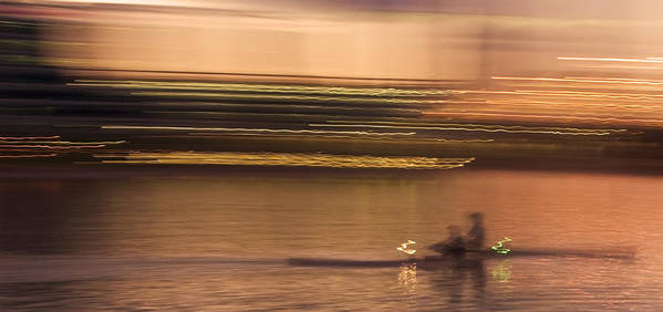 Golden Poster featuring the photograph Tempe Town Lake Rowers Abstract by Dave Dilli