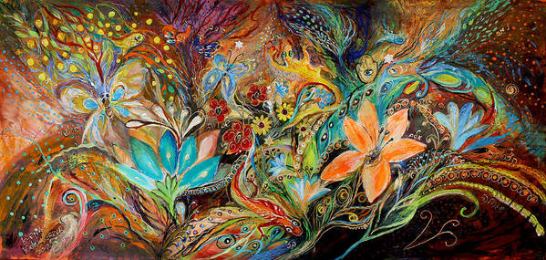 Judaica Poster featuring the painting The Dance Of Lizards by Elena Kotliarker