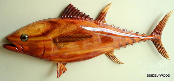 Wood Fish Poster featuring the sculpture Tuna Sculpture by Douglas Snider