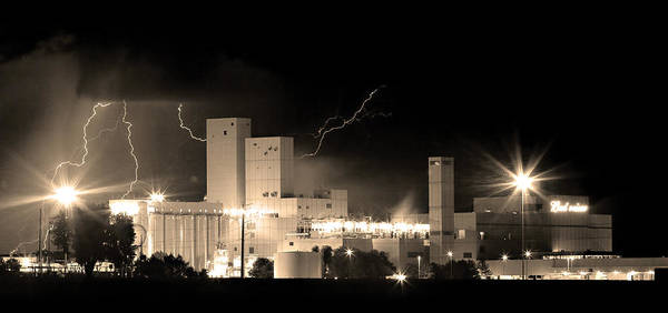 40d Poster featuring the photograph Budwesier Brewery Lightning Thunderstorm Image 3918 Bw Sepia Im by James BO Insogna