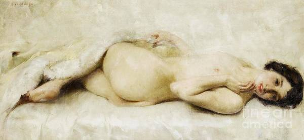 Pd Poster featuring the painting Reclining Nude by Pg Reproductions