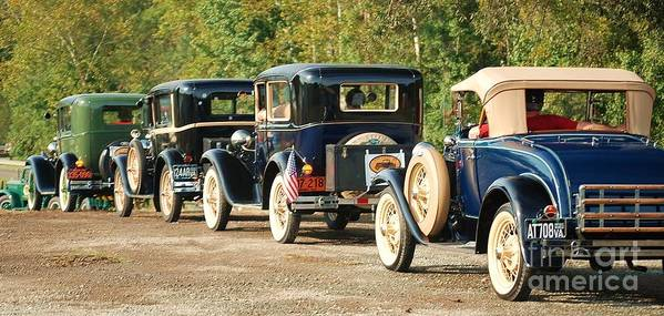 Old Fords Vintage Cars Poster featuring the photograph 30's 40's Line Up by Betty Maxey