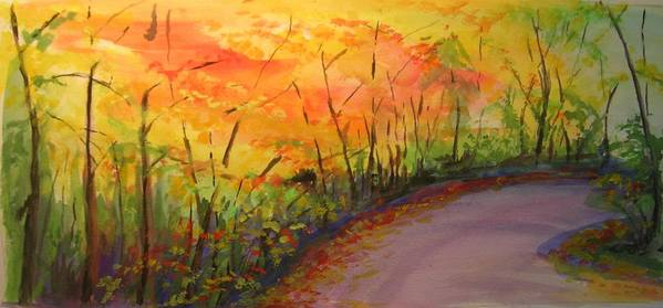 Original Landscape Impressionist Painting Poster featuring the painting Autumn Lane IIi by Lizzy Forrester