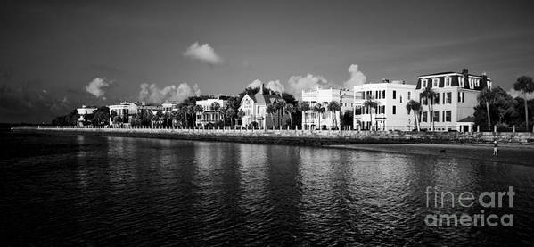 Battery Row Poster featuring the photograph Charleston Battery Row Black And White by Dustin K Ryan