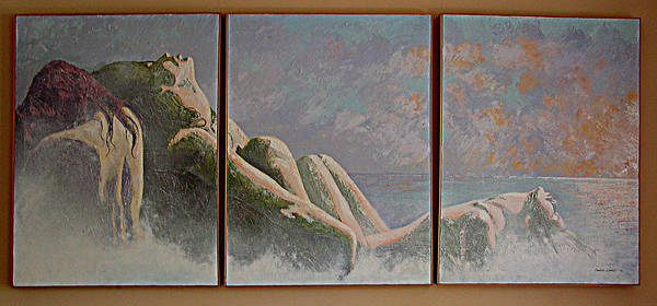 Figure Poster featuring the painting Emergence Two by JoAnne Castelli-Castor