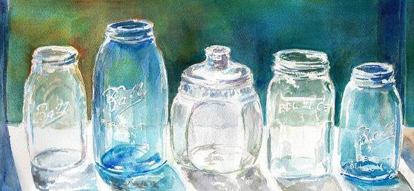 Mason Jars Poster featuring the painting Five Jars In Window by Sukey Watson