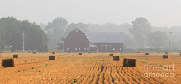 Hay Bales Poster featuring the photograph Hay Bales And Red Barn At Sunrise by Jack Schultz