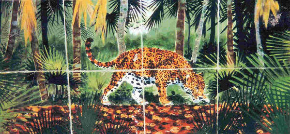 Jaguar Poster featuring the painting Jaguar On The Hunt by Dy Witt
