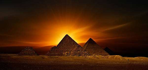 Sunset At The Pyramids Poster featuring the photograph Pyramids Sunset by Nasser Osman