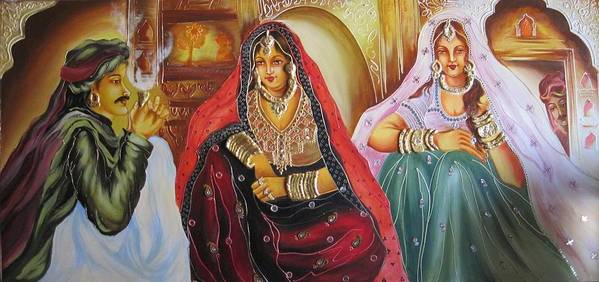 Ladies Poster featuring the painting Rajasthani People by Xafira Mendonsa