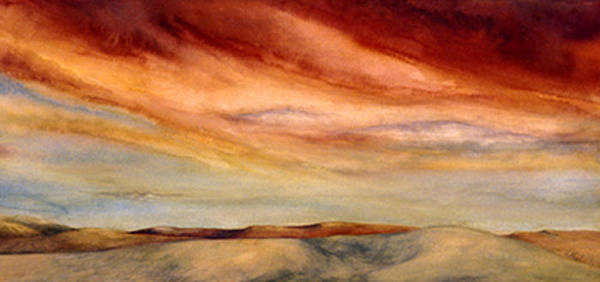 Watercolor Poster featuring the painting Red Desert by Nancy Ethiel