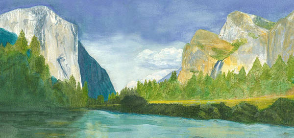 Yosemite Mountains Poster featuring the painting Yosemite by Jo Baby