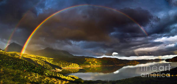 Kylesku Poster featuring the photograph A Scottish Highland Rainbow Kylesku by John Farnan