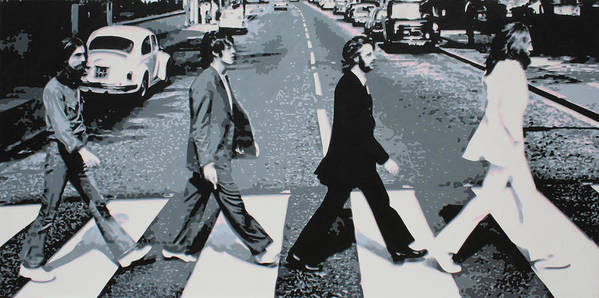The Beatles Poster featuring the painting Abbey Road 2013 by Luis Ludzska
