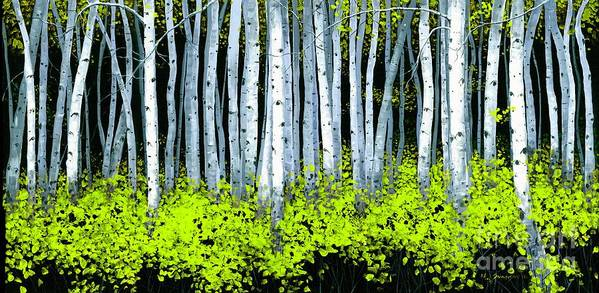 Aspens Poster featuring the painting Aspen II by Michael Swanson