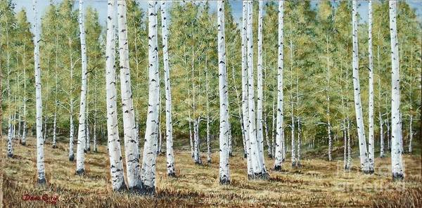 Fall Painting Poster featuring the painting Aspen South Saddle Blue Mtn 24 X 48 by Dana Carroll