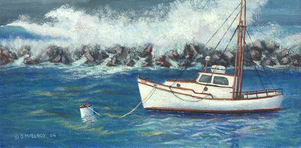 Ocean Poster featuring the painting Behind The Breakwall by Jerry McElroy