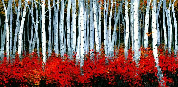 Birch Poster featuring the painting Birch 24 X 48 by Michael Swanson