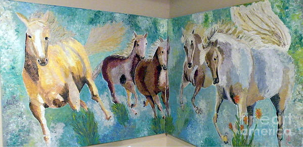 Horses Poster featuring the painting Corner Horses by Vicky Tarcau