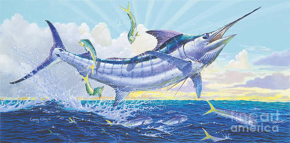 Blue Marlin Poster featuring the painting Crasher Off0034 by Carey Chen