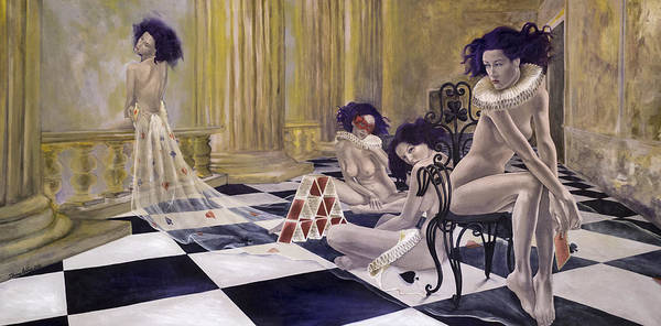 Nudes Poster featuring the painting Defenceless by Dorina Costras