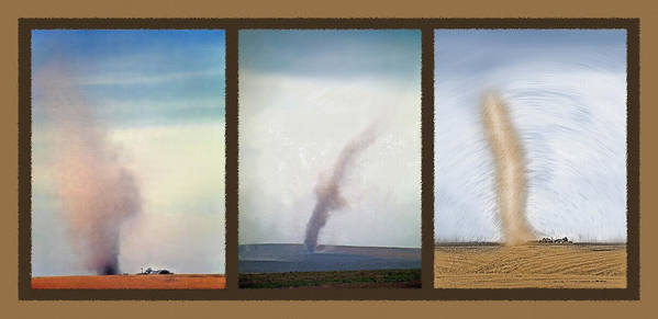 Dust Storms Poster featuring the photograph Giant Dust Devil Triptych by Steve Ohlsen