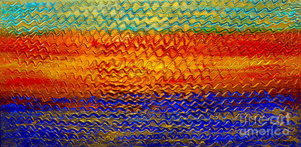 Oil Painting Poster featuring the painting Golden Sunrise - Abstract Relief Painting Original Metallic Gold Textured Modern Contemporary Art by Emma Lambert
