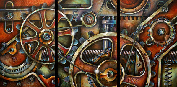 Mechanical Poster featuring the painting Harmony 7 by Michael Lang