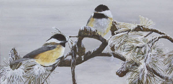 Chickadee Poster featuring the painting Ice Storm Chickadees by Johanna Lerwick