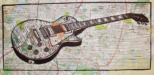 Les Paul Poster featuring the drawing Les Paul On Austin Map by William Cauthern