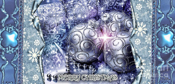 Merry Christmas Poster featuring the digital art Merry Christmas Blue by Mo T