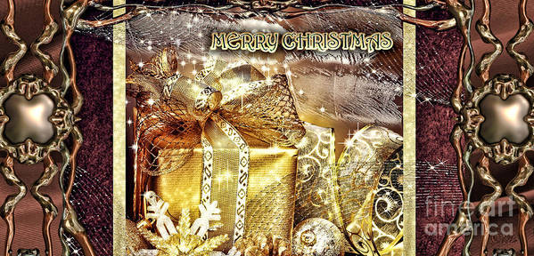 Merry Christmas Poster featuring the digital art Merry Christmas Gold by Mo T