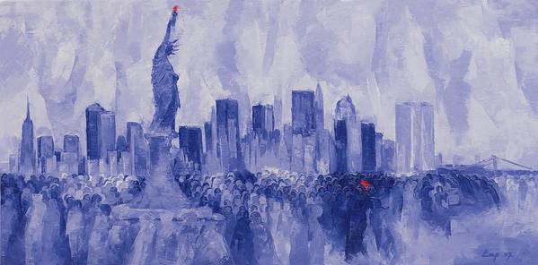Nice Poster featuring the painting NYC by Bayo Iribhogbe